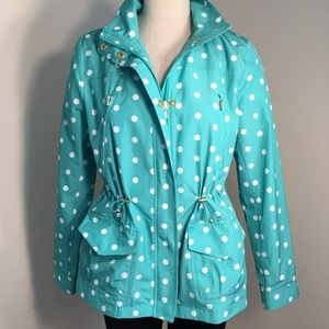 Crown & Ivy Green Polka Dot Light Rain Jacket Sz M